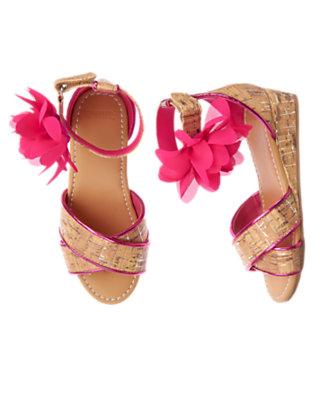 Girls Island Pink Flower Faux Cork Sandal by Gymboree