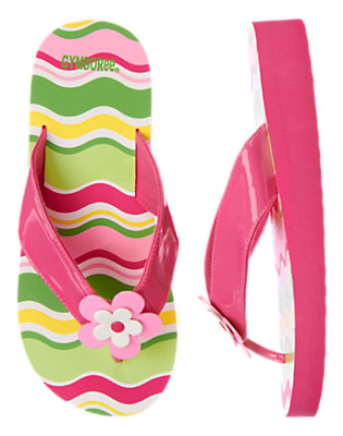 Girls Melon Green Stripe Flower Wavy Stripe Flip Flop by Gymboree