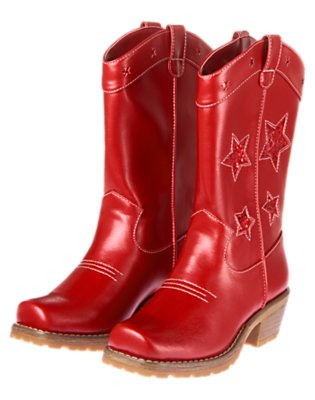 Girls Flag Red Glitter Star Cowgirl Boot by Gymboree