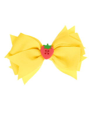 Toddler Girls Sunshine Yellow Strawberry Button Bow Hair Clip by Gymboree