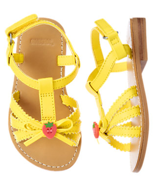 Toddler Girls Sunshine Yellow Strawberry Button Sandal by Gymboree
