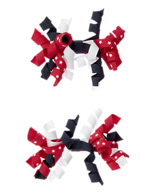 Toddler Girls Red/White All-American Curly Hair Clip Two-Pack by Gymboree