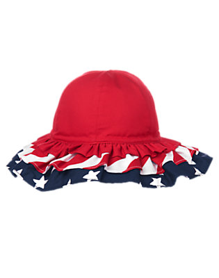 Toddler Girls Flag Red All-American Ruffle Hat by Gymboree