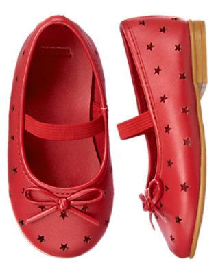 Toddler Girls Flag Red Cut-Out Star Ballet Flat by Gymboree