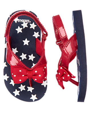Summer Navy Star Bow Flip Flop by Gymboree