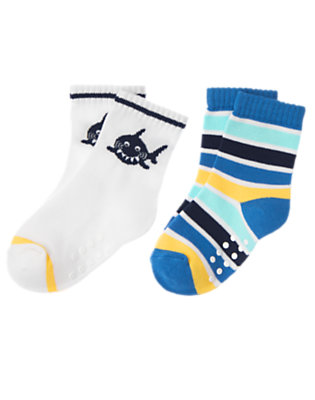 Toddler Boys White Shark Stripe Sock Two-Pack by Gymboree