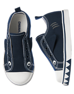 Deep Navy Happy Shark Laceless Sneaker by Gymboree