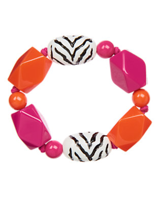 Girls Dahlia Pink Zebra Bead Bracelet by Gymboree