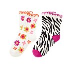 Zebra Flower Sock Two-Pack