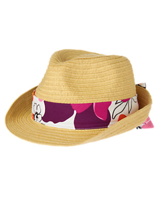 Girls Straw Safari Flower Bow Straw Fedora by Gymboree