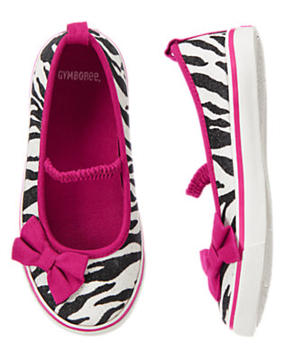 Girls Glitter Ivory Zebra Glitter Zebra Sneaker by Gymboree
