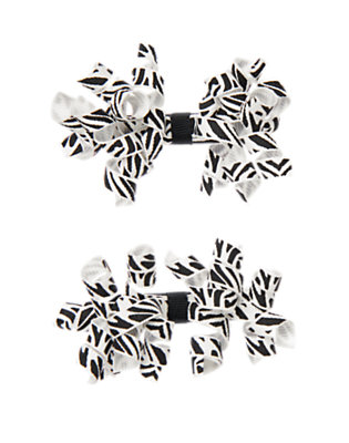 Toddler Girls Ivory Zebra Zebra Curly Hair Clip Two-Pack by Gymboree