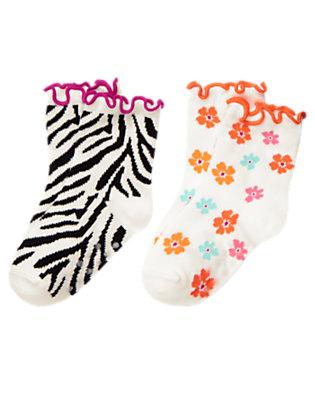 Toddler Girls Ivory Zebra Zebra Flower Sock Two-Pack by Gymboree