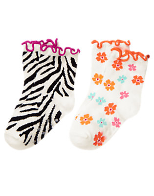 Ivory Zebra Zebra Flower Sock Two-Pack by Gymboree