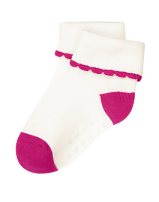 Dahlia Pink Scalloped Sock by Gymboree
