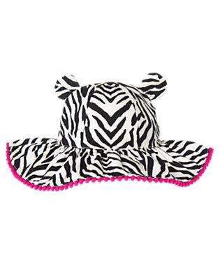 Toddler Girls Ivory Zebra Zebra Pom Pom Sunhat by Gymboree