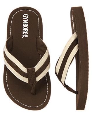 Chocolate Brown Stripe Flip Flop by Gymboree