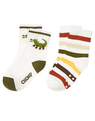 Toddler Boys White Crocodile Stripe Sock Two-Pack by Gymboree