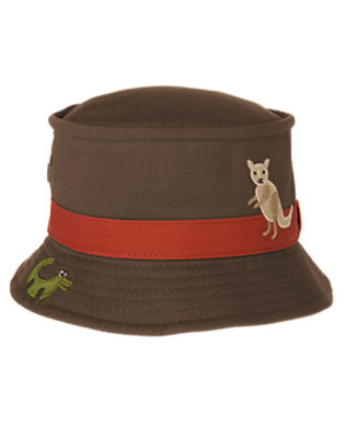 Chocolate Brown Crocodile Kangaroo Bucket Hat by Gymboree