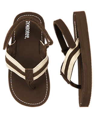 Chocolate Brown Stripe Flip Flop by Gymboree