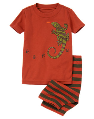 Toddler Boys Dark Red Lizard Shortie Two-Piece Gymmies® by Gymboree