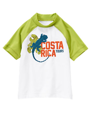 White Costa Rica Iguana Rash Guard by Gymboree