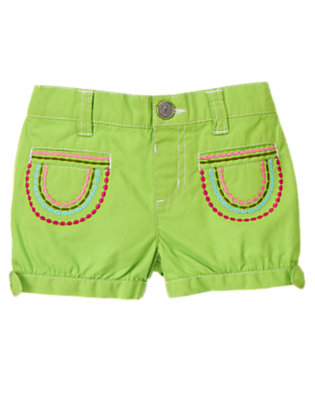 Toddler Girls Parrot Green Embroidered Bow Cuff Short by Gymboree