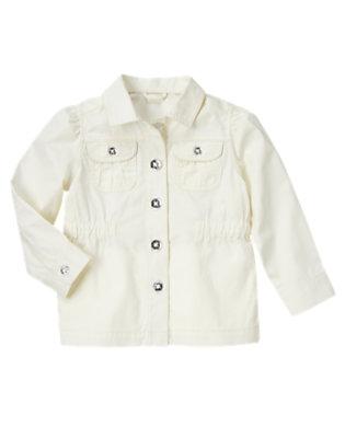 Girls Jet Ivory Gem Button Safari Jacket by Gymboree