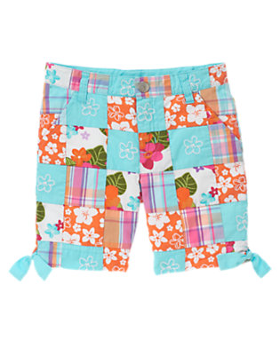 Tropical Flower Patchwork Embroidered Flower Patchwork Bermuda Short by Gymboree