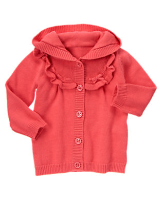 Coral Pink Interlaced Sweater Hoodie by Gymboree