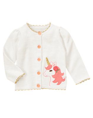 Toddler Girls White Unicorn Scalloped Sweater Cardigan by Gymboree