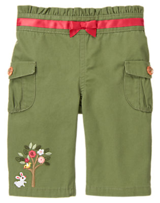 Olive Green Rose Garden Cargo Pant by Gymboree