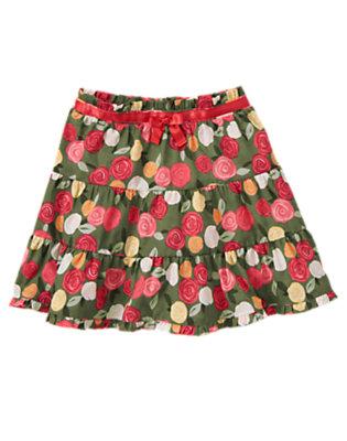 Toddler Girls Sage Rose Floral Rose Tiered Ruffle Skirt by Gymboree