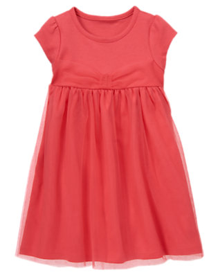 Toddler Girls Coral Pink Tulle Overlay Dress by Gymboree