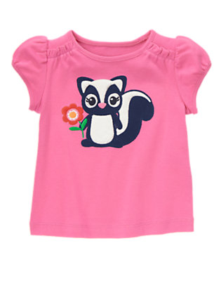 Bright Pink Flower Skunk Short Sleeve Tee by Gymboree