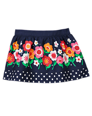 Toddler Girls Navy Floral Flower Dot Skirt by Gymboree