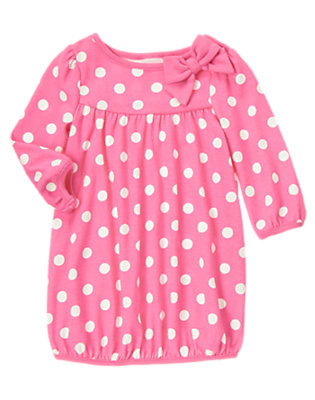 Toddler Girls Bright Pink Dot Bow Dot Dress by Gymboree