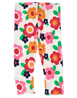 Toddler Girls Ivory Floral Flower Legging by Gymboree