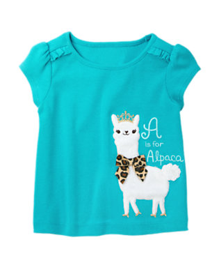 Turquoise Blue Alpaca Princess Short Sleeve Tee by Gymboree