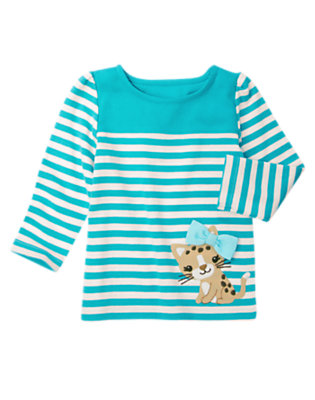 Turquoise Blue Stripe Bow Leopard Kitty Stripe Tee by Gymboree