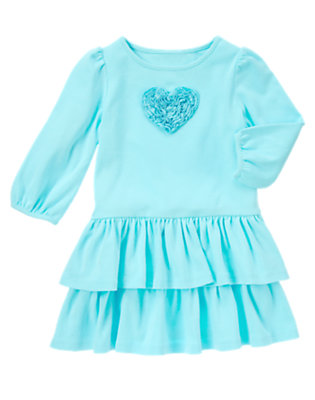 Toddler Girls Crystal Blue Ruffle Heart Dress by Gymboree