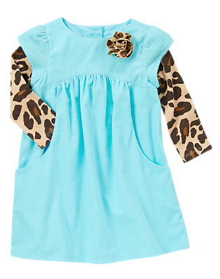 Toddler Girls Crystal Blue Leopard Rosette Double Sleeve Dress by Gymboree