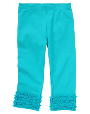 Toddler Girls Turquoise Blue Tulle Ruffle Legging by Gymboree