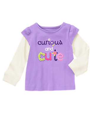 Sweet Lavender Curious & Cute Double Sleeve Tee by Gymboree