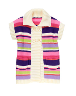 Toddler Girls Perky Pink Stripe Stripe Sweater Cardigan by Gymboree