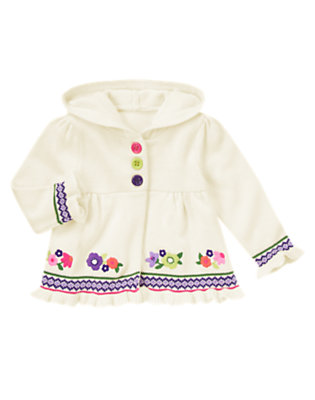 Toddler Girls Vanilla Ivory Flower Hooded Sweater Cardigan by Gymboree