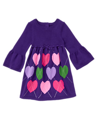 Toddler Girls Purple Freesia Argyle Heart Sweater Dress by Gymboree