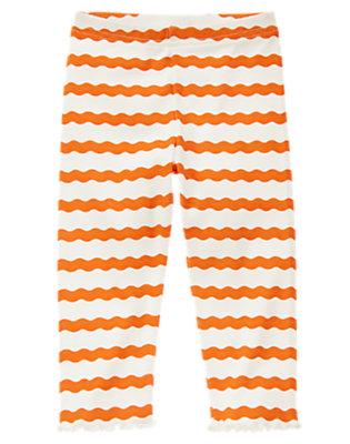 Toddler Girls Pumpkin Orange Stripe Wavy Stripe Legging by Gymboree