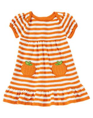 Pumpkin Orange Stripe Pumpkin Pocket Stripe Sweater Dress by Gymboree