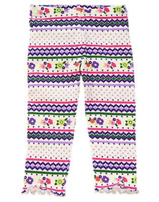 Toddler Girls Ivory Fair Isle Fair Isle Flower Legging by Gymboree